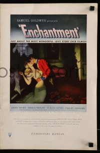 2607 ENCHANTMENT pressbook '49 David Niven, Teresa Wright, Rumer Godden novel, Ray Johnson art!