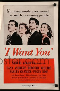 2610 I WANT YOU pressbook '51 Dana Andrews, Dorothy McGuire, Farley Granger, Peggy Dow