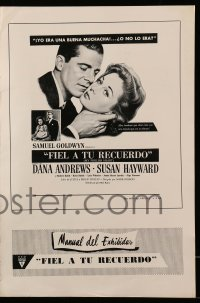 2612 MY FOOLISH HEART Spanish/US pressbook '50 Susan Hayward & Dana Andrews, J.D. Salinger!
