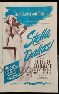 2619 STELLA DALLAS pressbook R44 great close up of trashy mother Barbara Stanwyck!