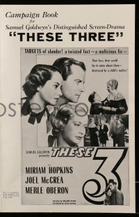 2621 THESE THREE pressbook R54 Miriam Hopkins, Merle Oberon & Joel McCrea targets of slander!