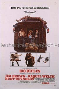 100 RIFLES style A 1sh '69 Jim Brown, sexy Raquel Welch & Burt Reynolds on back of train!