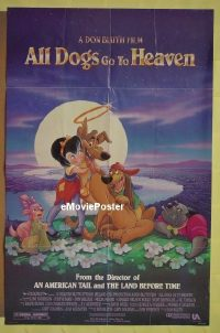 #013 ALL DOGS GO TO HEAVEN double sided 1sh