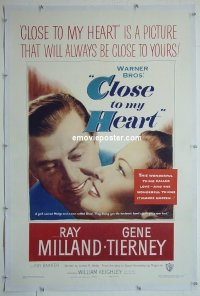 #2286 CLOSE TO MY HEART linen 1sh '51 Tierney