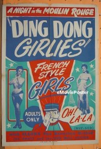 #029 DING DONG GIRLIES 1sh '51 burlesque!