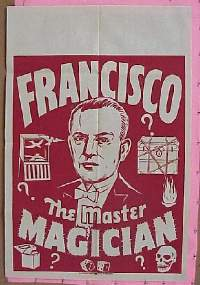#041 FRANCISCO THE MASTER MAGICIAN 1sh '30s