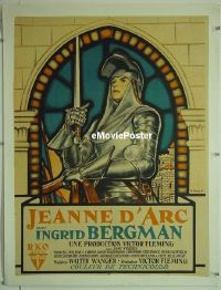 #052 JOAN OF ARC linen small French '48 art!