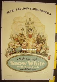 #001 SNOW WHITE & THE SEVEN DWARFS linen style B 1sh '37 Disney cartoon classic, Tenggren art!