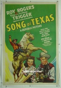 #078 SONG OF TEXAS linen 1sh '43 Roy Rogers
