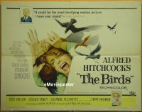 h116 BIRDS half-sheet movie poster '63 Alfred Hitchcock, Rod Taylor
