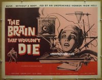h117 BRAIN THAT WOULDN'T DIE half-sheet movie poster '62 AIP sci-fi!