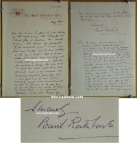 #6002 BASIL RATHBONE great signed letter!
