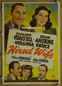 #6027 HIRED WIFE mini WC '40 Rosalind Russell