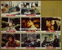 F010 1st BLOOD 8 lobby cards '82 Rambo, Sylvester Stallone