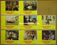F046 BANANAS 8 lobby cards '71 Woody Allen, Louise Lasser