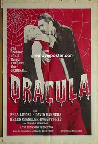 r547 DRACULA one-sheet movie poster R60s Bela Lugosi classic!
