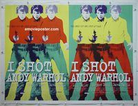 y054 I SHOT ANDY WARHOL linen British quad movie poster '96 cool image!