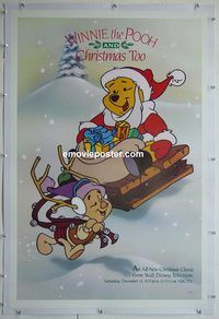 y484 WINNIE THE POOH & CHRISTMAS TOO linen TV one-sheet movie poster '91