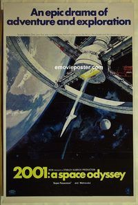 h156 2001 A SPACE ODYSSEY one-sheet movie poster '68 Stanley Kubrick