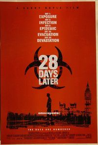 h211 28 DAYS LATER DS int'l one-sheet movie poster '03 Danny Boyle, zombies!