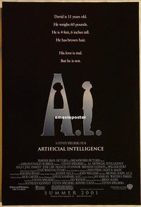 h212 AI DS advance one-sheet movie poster '01 Spielberg, Haley Joel Osment