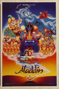 h166 ALADDIN DS one-sheet movie poster '92 Walt Disney classic!