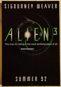 h213 ALIEN 3 DS advance one-sheet movie poster '92 Sigourney Weaver, sci-fi