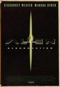 h214 ALIEN RESURRECTION DS advance style B one-sheet movie poster '97 Ryder