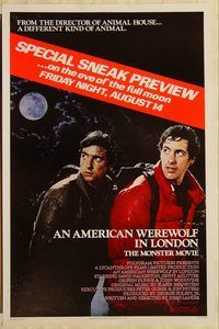 h175 AMERICAN WEREWOLF IN LONDON advance one-sheet movie poster '81 sneak preview!