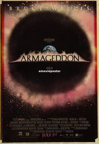 h217 ARMAGEDDON DS advance one-sheet movie poster '98 Bruce Willis, Affleck