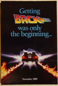 h303 BACK TO THE FUTURE 2 'car' teaser one-sheet movie poster '89 Fox, Lloyd