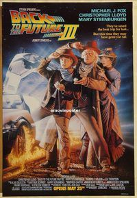 h221 BACK TO THE FUTURE 3 DS advance one-sheet movie poster '90 Fox, Lloyd