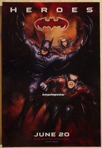h304 BATMAN & ROBIN advance one-sheet movie poster '97 heroes!