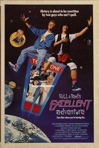 h176 BILL & TED'S EXCELLENT ADVENTURE one-sheet movie poster '89 Reeves