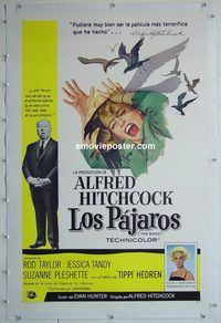 h035 BIRDS linen Spanish/U.S. one-sheet movie poster '63 Hitchcock, Taylor