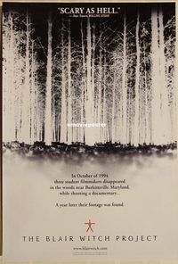 h229 BLAIR WITCH PROJECT DS teaser one-sheet movie poster '99 cult classic!