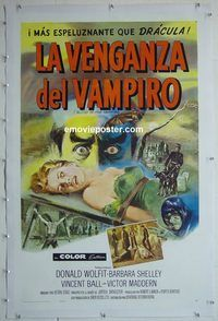 h037 BLOOD OF THE VAMPIRE linen Spanish/U.S. one-sheet movie poster '58