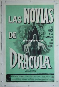 h038 BRIDES OF DRACULA linen Spanish/U.S. one-sheet movie poster '60 Hammer