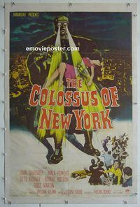 h006 COLOSSUS OF NEW YORK linen one-sheet movie poster '58 Mala Powers