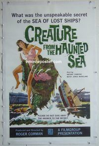 h007 CREATURE FROM THE HAUNTED SEA linen one-sheet movie poster '61 Corman