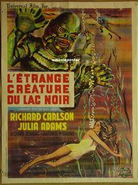 h059 CREATURE FROM THE BLACK LAGOON French 23x32 R62 artwork of monster & scuba divers!