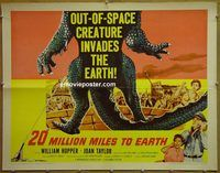 h111 20 MILLION MILES TO EARTH style A 1/2sh '57 out-of-space creature invades the Earth, cool art