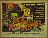 h112 27TH DAY half-sheet movie poster '57 Gene Barry, sci-fi!