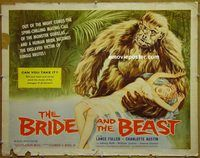 h118 BRIDE & THE BEAST half-sheet movie poster '58 Ed Wood jungle horror!