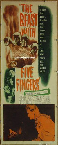 h004 BEAST WITH FIVE FINGERS linen insert movie poster '47 Peter Lorre