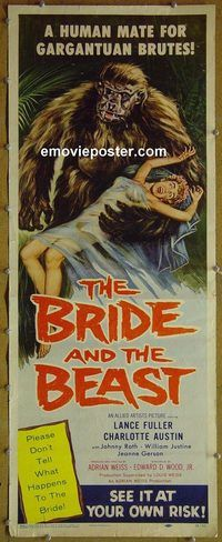 h078 BRIDE & THE BEAST insert movie poster '58 Ed Wood