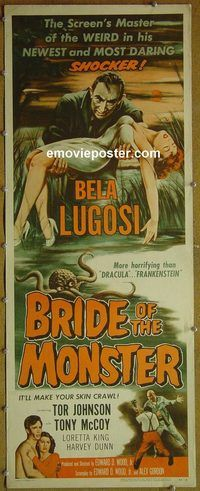 h079 BRIDE OF THE MONSTER insert movie poster '56 Ed Wood, Lugosi