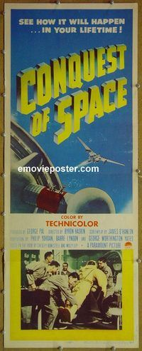 h083 CONQUEST OF SPACE insert movie poster '55 George Pal, sci-fi!