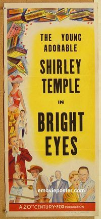 p148 BRIGHT EYES Australian stock daybill R60s Shirley Temple