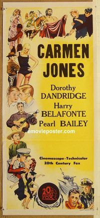 p184 CARMEN JONES Australian stock daybill movie poster R60s Belafonte Dandridge